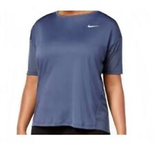 NIKE Womens Plus Size DRY MILER SS Running Yoga Top  ** TJUNDER BLUE - 1X ** NWT