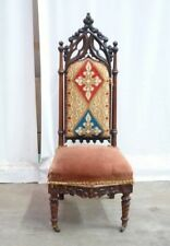 Small Antique French Gothic Side Chair / Vanity Chair