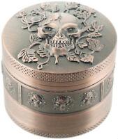 "2"" Skull Grinder 4 Piece Tobacco Herb Spice Crusher Copper Brassy Pewter Black"