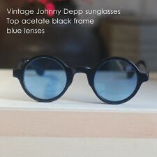 Vintage round sunglasses Johnny Depp style mens eyeglass black frame blue lenses