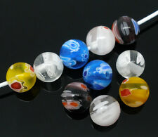 100 Hot Sell Mixed Millefiori Glass Lampwork Round Beads 8mm