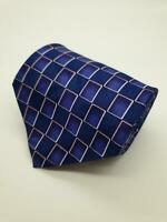 MENS BURTON NAVY BLUE PURPLE WHITE SMALL SQUARE PATTERN 100% POLYESTER TIE
