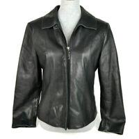 Jones New York Womens Size Medium Petite Soft Black Leather Zipper Moto Jacket
