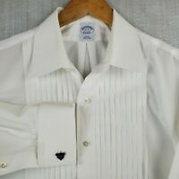 BROOKS BROTHERS 17-35 White Slim Fit Tuxedo Dress Shirt Mens 10 Pleat French Cuf