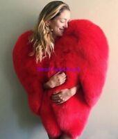 Heart Womens Real Red FOX FUR VEST Coat Luxury Warm Winter Short Outwear Jacket