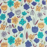 Floral Polycotton Fabric Metre Crafts Material TULIP FLORAL & BUTTERFLY SEWING
