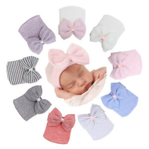 Newborn Baby Girls Infant Striped Soft Hat with Bow Cap Hospital Beanie headband