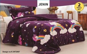 UNICORN PURPLE GIRLS FLANNEL BLANKET WITH SHERPA SOFTY AND WARM 2 PCS TWIN SIZE