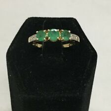 Designer Triple Emerald Diamond .84tcw Ring 10K Yellow Gold Ring Size 6.75