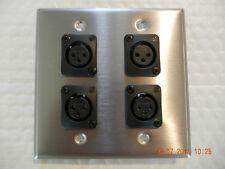 Stainless Steel Double Gang Leviton Wallplate w/ 4 Neutrik OEM NC3FQL-H XLR Fems