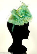 Chapeau de cérémonie femme serre tête MADE in FRANCE vert cocktail green hat NEW