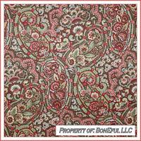 BonEful Fabric FQ Cotton Home Decor VTG Cream Pink Red Green Flower Paisley Xmas