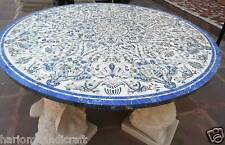 5' Marble Dining Round Table Top Marquetry Gems Arts Inlay Furniture Decor H2396