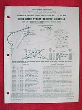 RARE 1977 SNOW Co, JOHN DEERE TY2035 & TY2001 TRACTOR UMBRELLA,INST.& PARTS LIST