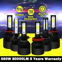 80000LM H1 H4 H7 H11 Voiture Phare COB LED Conversion Ampoule Feu Canbus 6500K