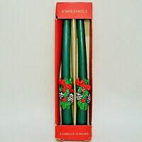 "Vintage Green Taper Christmas Candles Sculpted Pine Holly 10"" Never Used IOB"