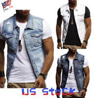 Fashion Men Denim Vest Jackets Wash Jeans Sleeveless Distressed Basic Tops US