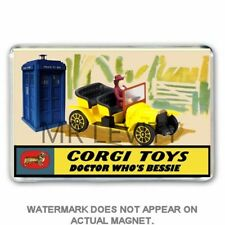 RETRO CORGI TOYS INSPIRED 'DOCTOR WHO' BESSIE CAR ADVERT JUMBO FRIDGE MAGNET