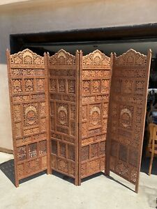 Hand Carved Wood Privacy Screen Room Divider shoji India inlay 4-panel
