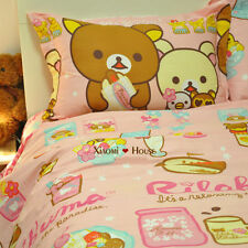 Rilakkuma Bear Pink Color Queen Size Cotton Bed Sheet 4Pc Cotton Bed Sheet Set