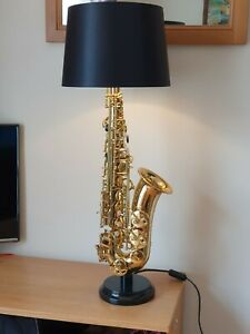 Gold Saxophone table lamp with hardwood base, made to order np
