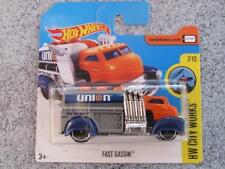 Hot Wheels 2017 #144/365 FAST GASSIN fuel truck silver orange HW City works