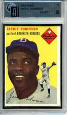 1954 Topps # 10 Jackie Robinson Brooklyn Dodgers Graded Card GAI 6