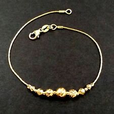 Gold Filled. Made to your size. Graduated Hammered Beads Beaded Anklet 14kt