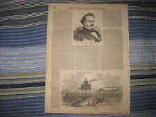 ANTIQUE 1857 SPIT LIGHTHOUSE FORT WARREN BOSTON MASSACHUSETTS PRINT 1ST REGIMENT
