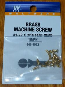 "Walthers #947-1062 / 1-72 Brass Flat Head Machine Screws -- 3/16 x .073"" .16 x ."