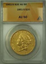 1861-S Liberty Double Eagle $20 Gold Coin ANACS AU-50