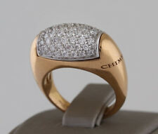 LUXURIOUS CHIMENTO 18K GOLD 1 CARAT PAVE DIAMOND DIAMOND COCKTAIL RING SIZE 5.5