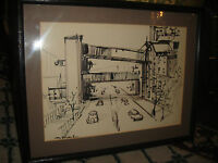 Black Marker Drawing Vintage Queens NYC Streets Cars Overpass Framed