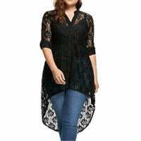 Damen Langarm Knopf Shirt Tops Transparent Asymmetrischer Spitze Bluse Tunika