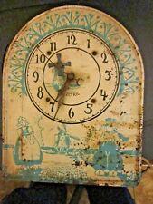 Vintage  Animated Tin Electric Windmill Wall Clock w/Dutch Boy & Girl