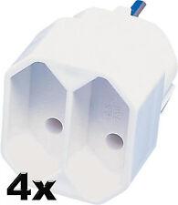 4x Stecker Europa Adapter zweifach weiß ohne Schuko