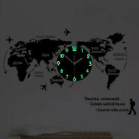 Unique Acrylic Wall Clock World Map Hanging Clock for Office Home Living Room D