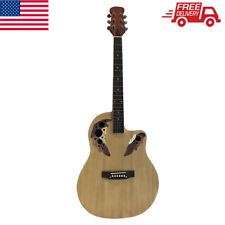 41 inch Cutawary Round Back Acoustic Guitar Spruce Top Grape Hole Burlywood US