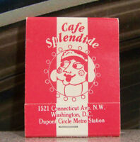 Rare Vintage Matchbook S4 Washington DC Dupont Circle Cafe Splendide Metro Stati
