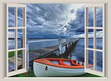 Lake & Pier Window View Color Wall Sticker Wall Mural 26x36