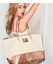 NEW VS pink VICTORIAS SECRET Large TOTE BAG BEIGE Rose Gold Bag LIMITED EDITION