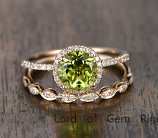 Wedding Ring Sets,Peridot with Diamond Solid 14K Yellow Gold,7mm Round Cut,Prong