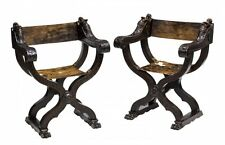 CHARMING (2) FIGURAL CARVED SAVONAROLA FOLDING CHAIRS 19th C 1800s