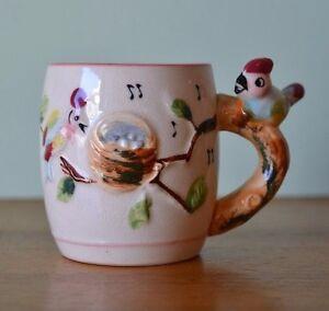 Vintage tea cup ceramic mug  bird  Japan AGT2 fine china kitsch cute