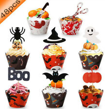 48 Pcs Halloween Cupcake Wrappers Ghost Witch Vampire Spider Bat Toppers New