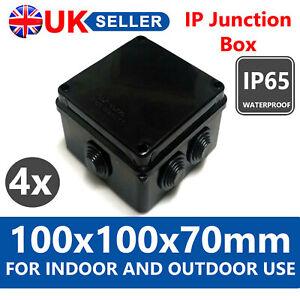 4 X IP JUNCTION BOX 100X100X70MM WATERPROOF IP65 BLACK FOR OUTDOOR CCTV TERMINAL