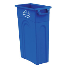 Slim 23 Gal. Vented Blue Recycling Highboy Waste Container Recycle Bin w/ Handle