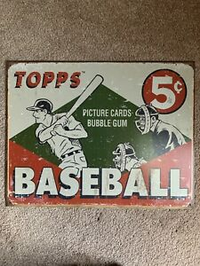 """Topps Vintage Style 1950's Era Reproduction Tin Sign for their """"Picture Cards"""""""