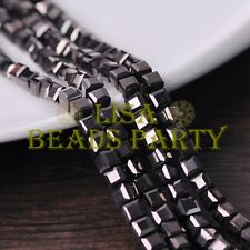 25pcs 6mm Cube Square Faceted Crystal Glass Loose Spacer Beads Gun Black