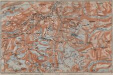 Galdhøpiggen and Glittertind mountains. Jotunheimen. Topo-map. Norway 1912